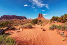 Sand Dunes In Desert In Monument Valley, Arizona, United States.