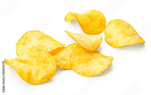 Fotografía  Potato chips isolated on white background