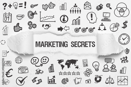 Marketing Secrets / weißes Papier mit Symbole Wallpaper Mural