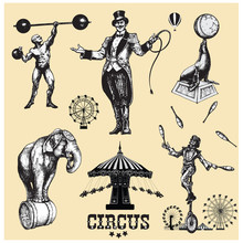 Circus And Amusement Vector Illustrations Set . Vintage Style Drawing