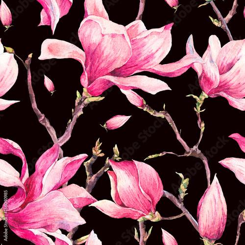 Leinwandbilder - Watercolor Floral Spring Seamless Pattern with Magnolia