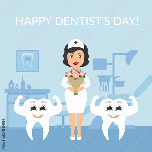 Autocollant pour porte Des Illustrations Festive illustration. Greeting card. International day of the dentist. Dentist doctor with a bouquet of flowers. Two healthy beautiful white teeth. Vector. The cute characters.