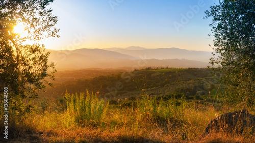 Foto op Canvas Baksteen Toskana , Sonnenuntergang, Sommer