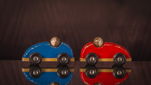 Two Wooden Toy Cars In Red And Blue  With Men.