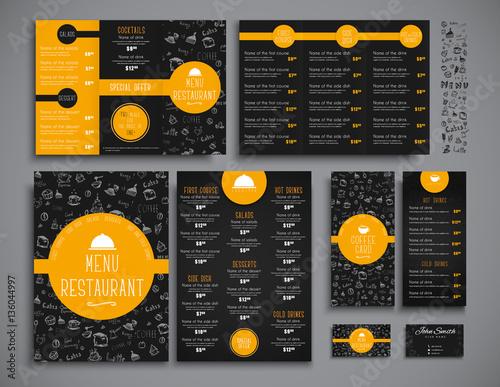 Set A4 menu, folding brochures and flyers narrow for a restauran