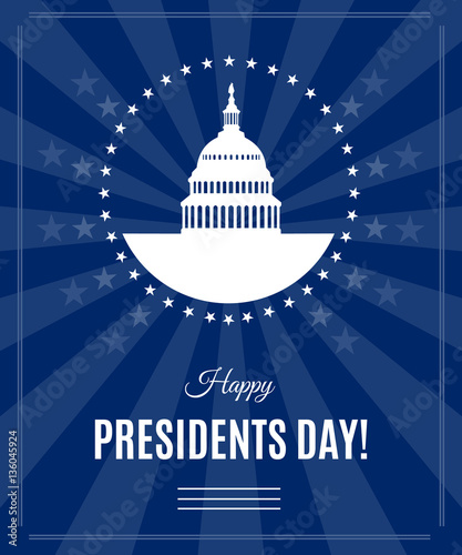 Obraz na płótnie Presidents Day greeting banner with Washington DC White house and Capitol building arounded stars isolated on dark rays background