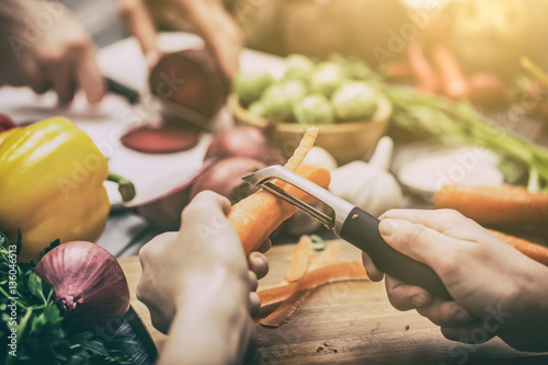 Photo sur Aluminium Cuisine Preparing vegetables for a meal.