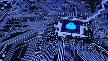 Blue Circuit Board Closeup Con...