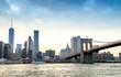 Downtown Manhattan and Brooklyn Bridge panorama at dusk, New Yo