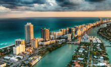 Aerial View Of Miami Beach Sky...