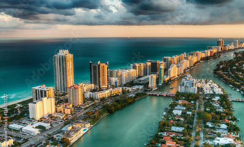Fotografie, Tablou  Aerial view of Miami Beach skyline, Florida