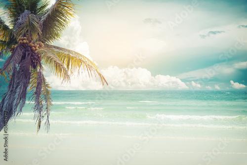 Foto auf AluDibond Palms Vintage tropical beach (seascape) with palm tree in summer. Landscape of coast. vintage effect color tone.