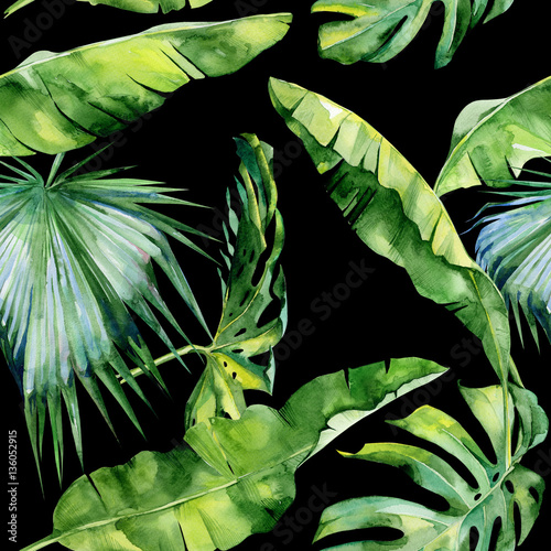 Plissee mit Motiv - Seamless watercolor illustration of tropical leaves, dense jungle. Pattern with tropic summertime motif may be used as background texture, wrapping paper, textile,wallpaper design. (von annaveroniq)