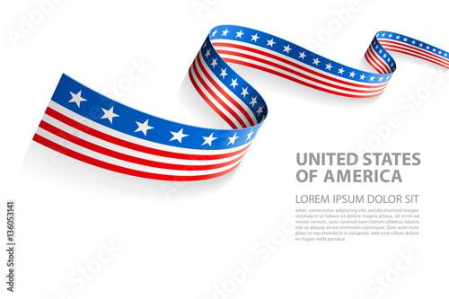 Fototapeta Vector Banner with USA Flag colors obraz na płótnie
