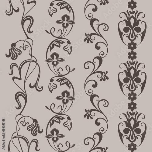 Printed kitchen splashbacks Butterflies in Grunge Seamless vintage floral vertical border vector ornaments.