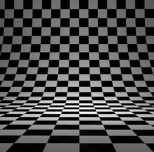 Black And White Checker 3D Studio Background.