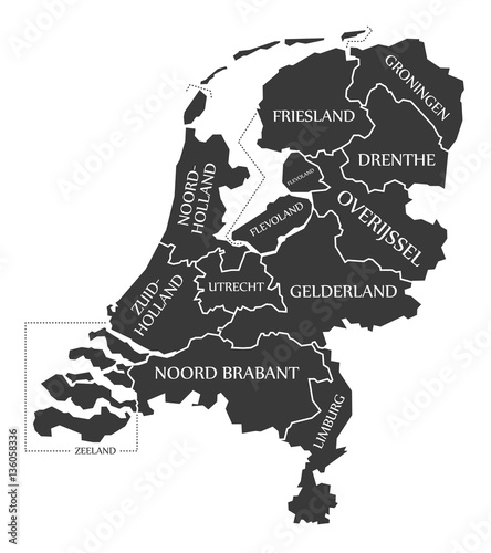 Netherlands Map labelled black illustration Canvas Print