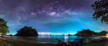 Panorama View Of The Milky Way In Night Sky Over Beach, Thailand