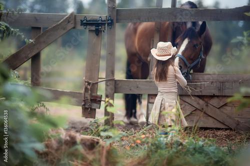 Fotografie, Obraz  Cute girl feeding her horse in paddock