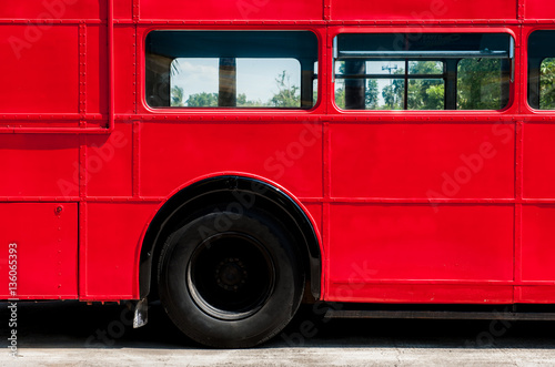 Photo  Detail of red Double Decker Bus,rivet and panel for background texture
