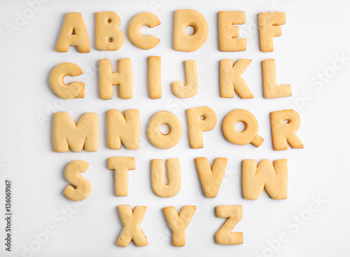 Fotobehang Koekjes Cookie alphabet on white background