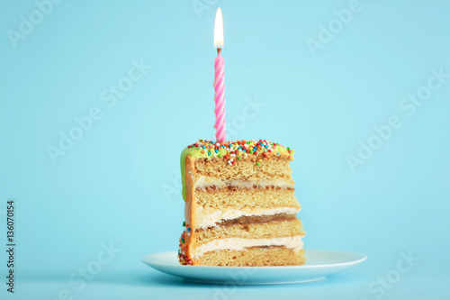 Stupendous Slice Of Birthday Cake With Candle On Color Background Buy This Personalised Birthday Cards Paralily Jamesorg
