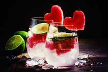 Valentine's Day Cocktail With Red Fruit Hearts, Selective Focus