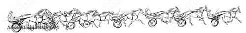 Tuinposter Art Studio Horse carriage racing