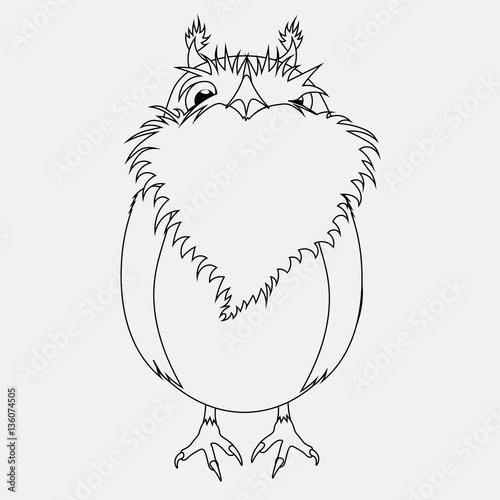 Spoed Foto op Canvas Cartoon draw vector black and white coloring cartoon bird Owl