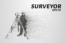 Surveyor Of The Particles. The Silhouette Of The Surveyor Consists Of Circles And Points. Vector Illustration