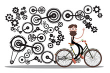 Man On Bicycle With Cogs - Gears Isolated On White Background