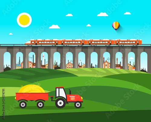 Photo Stands Turquoise Countryside. Vector Nature Landscape with Tractor, Bridge and Train.