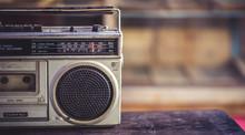 Antique Transistor Radio In Vintage Style.