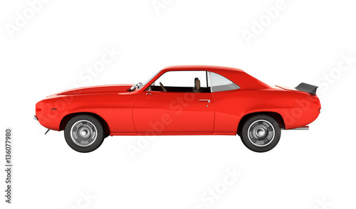 Muscle Car Side View Without Shadow On White Background 3d Buy