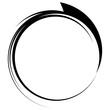 Circle with dynamic swoosh line frame. Monochrome circular eleme