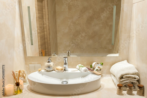 Bathroom Interior With Composition Of Spa Treatment Towels Candles And Other Accessories White
