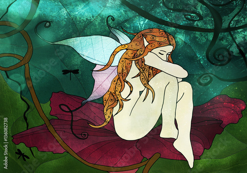 Fairy sitting on the flower stained glass digital art