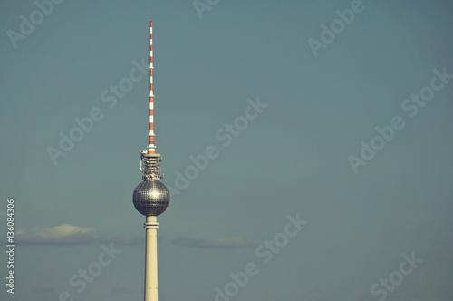 Keuken foto achterwand Berlijn the 368 meters high Television Tower is a famous landmark of Berlin, Germany, vintage style