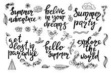 Set Of Hand Drawn Summer Theme...