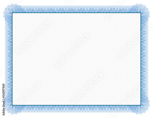Photo  Classic style Certificate with light blue floral border