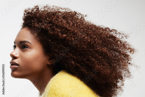 black woman's portrait showing her beauty curly afro hair Poster