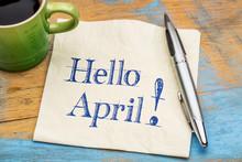 Hello April On Napkin With Cof...
