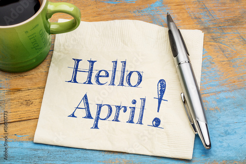 Photo Hello April on napkin with coffee