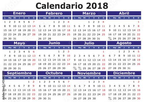 spanish calendar 2018 horizontal new year calendar calendar 2018 year 2018 calendar