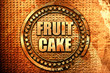 fruit cake, 3D rendering, text on metal