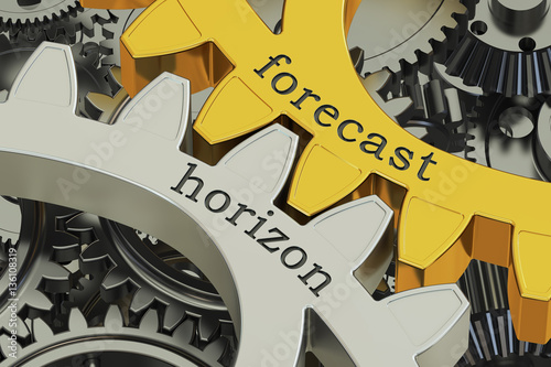 Fotografía  forecast horizon concept on the gearwheels, 3D rendering