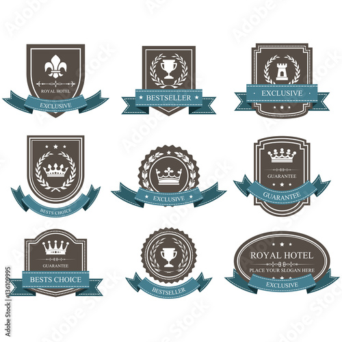 Photo  Emblems and badges with crowns and ribbons - award