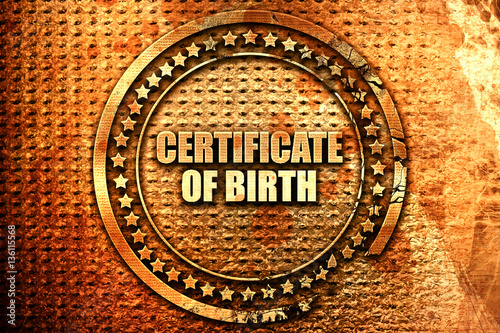 certificate of birth, 3D rendering, text on metal - Buy this stock ...