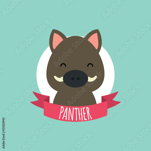 Photo  Cute Cartoon Wild Boar