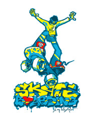 Naklejka Do pokoju dziecka Skateboarder and graffiti